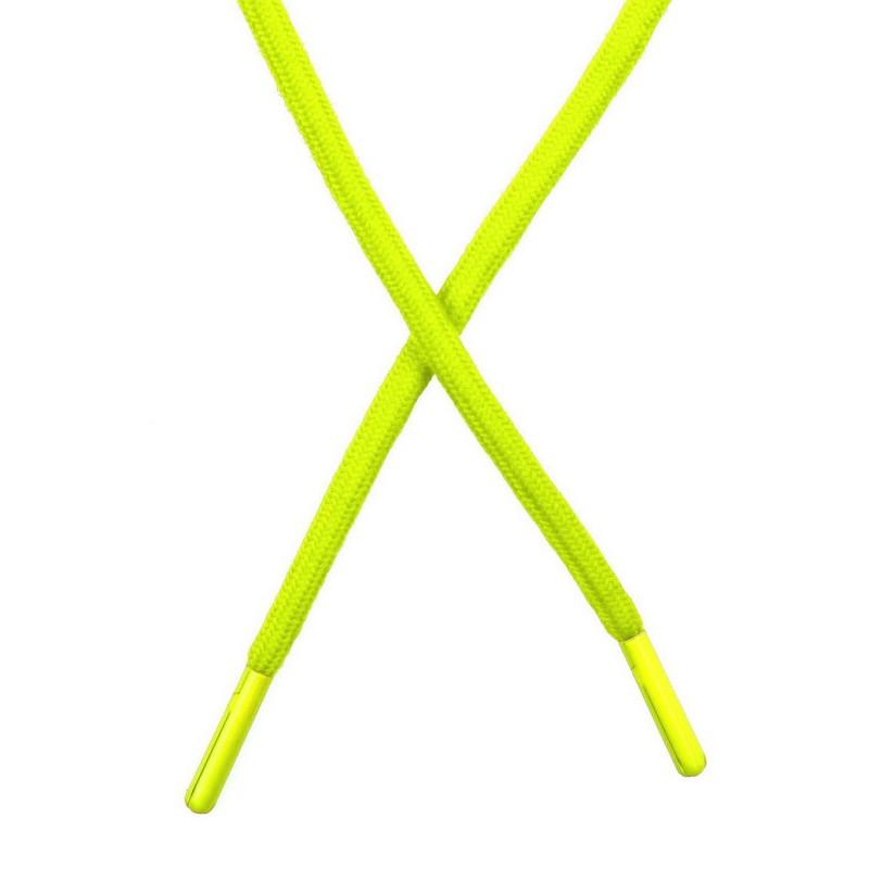 Шнур поликоттон круглый 0,6*130-135см с наконечником, цв:лимонный неон