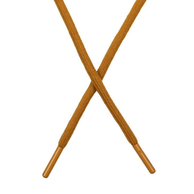 Шнур поликоттон круглый 0,6*130-135см с наконечником, цв:золотой металлик
