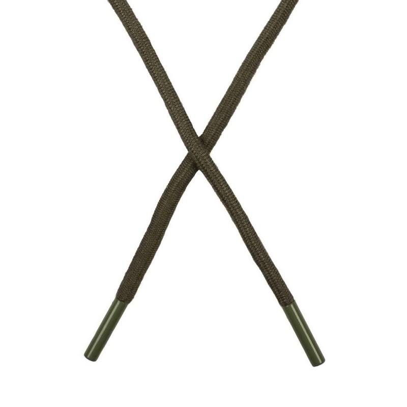 Шнур круглый поликоттон 0,5*135см с наконечником,цв:серый хаки