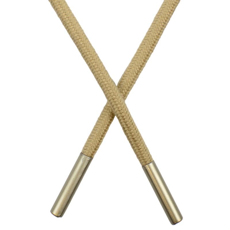 Шнур круглый поликоттон 0,5*145см с наконечником, цв: теплый бежевый