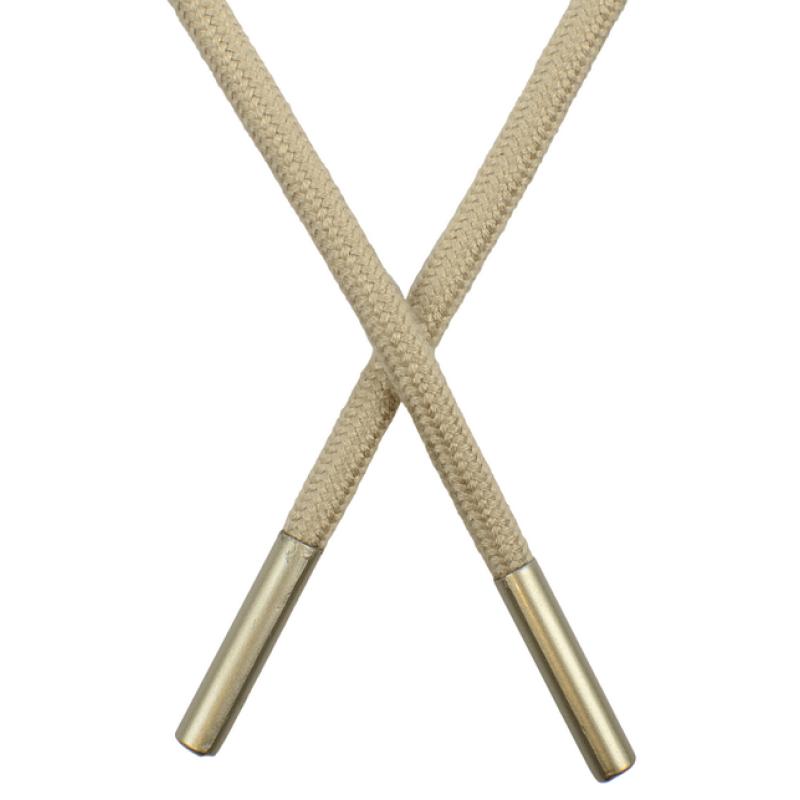 Шнур круглый поликоттон 0,5*145см с наконечником, цв: холодный бежевый