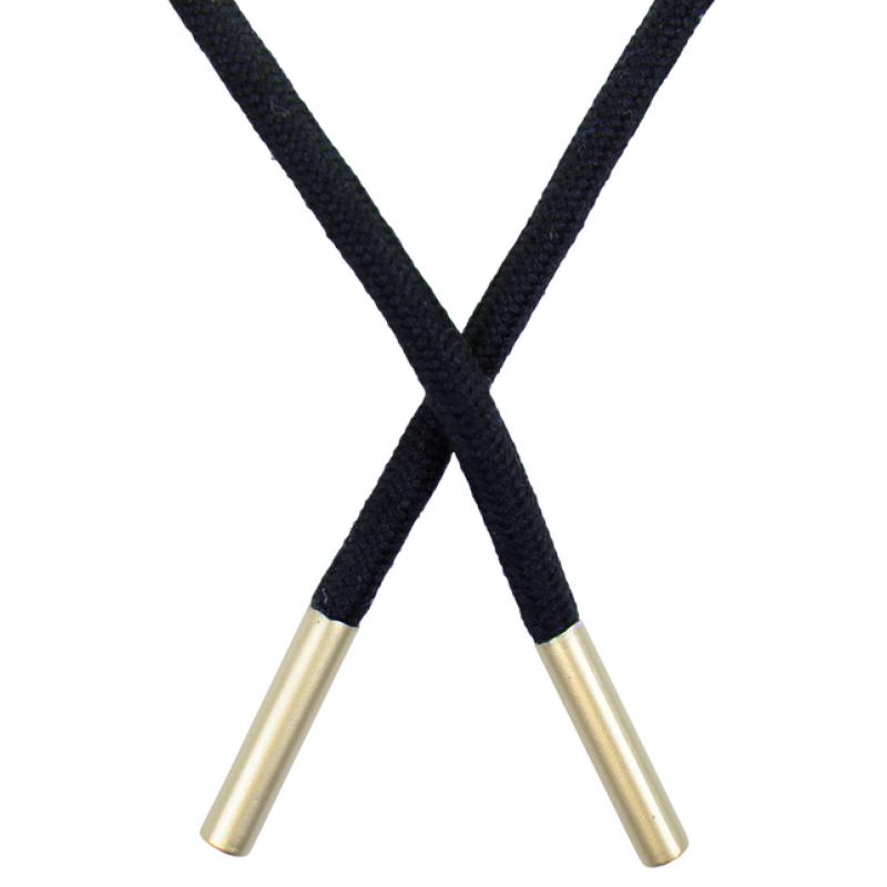 Шнур круглый поликоттон 0,5*145см с наконечником,цв:т.синий