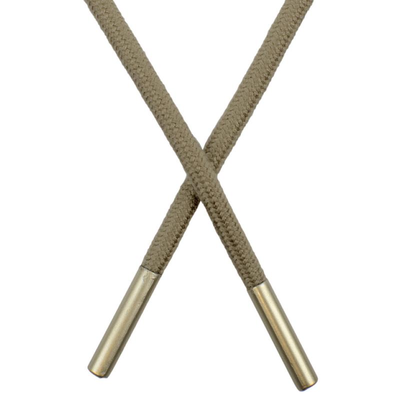 Шнур круглый поликоттон 0,5*145см с наконечником, цв: тёмно-бежевый