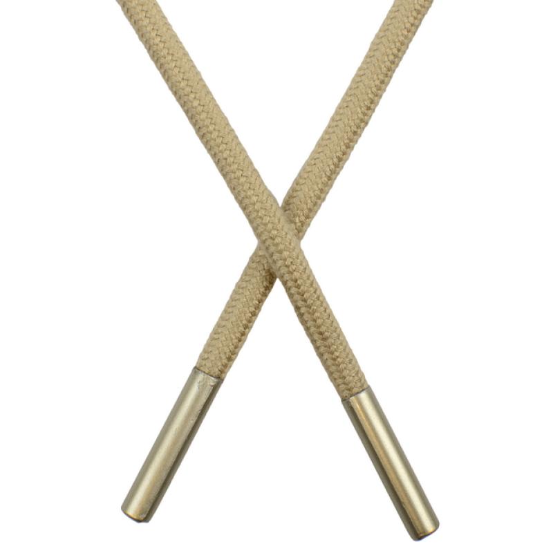 Шнур круглый поликоттон 0,5*145см с наконечником,цв:палевый