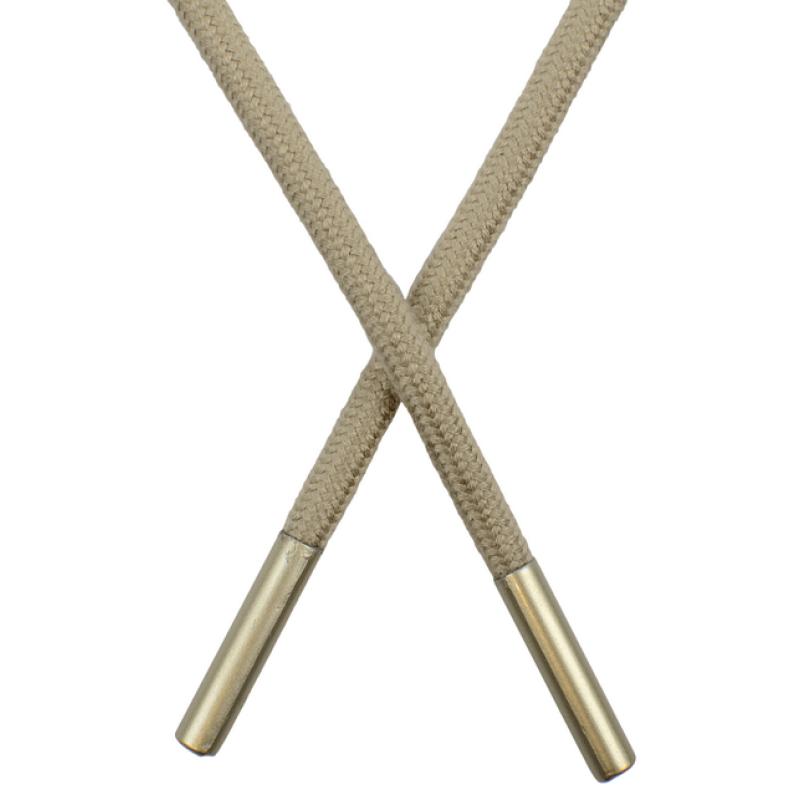 Шнур круглый поликоттон 0,5*145см с наконечником,цв:серо-бежевый