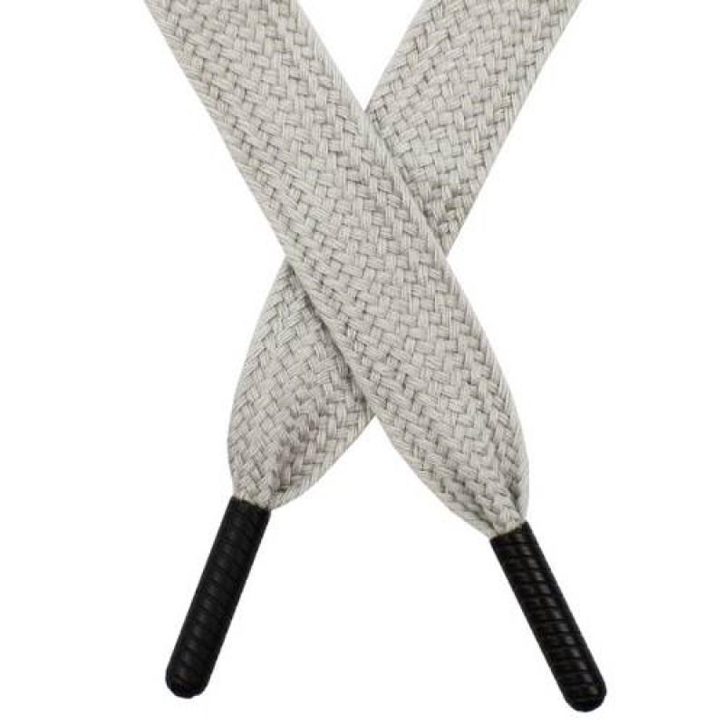 Шнур плоский поликоттон 1,5*145 с наконечником, цв: светло-серый