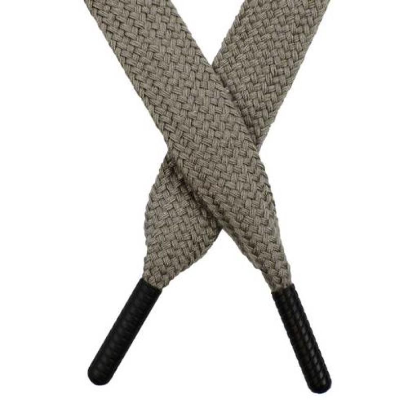 Шнур плоский поликоттон 1,5*145 с наконечником, цв: серый