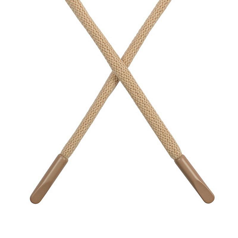 Шнур круглый поликоттон 0,5*135-140см с наконечником, цв:песочный