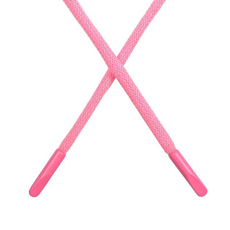 Шнур круглый поликоттон 0,5*135-140см  с наконечником, цв:св.розовый неон
