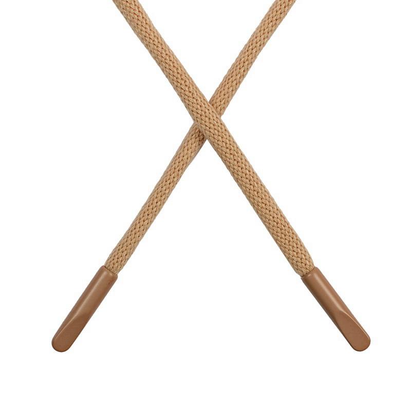 Шнур круглый поликоттон 0,5*135-140см с наконечником, цв:золотисто-бежевый