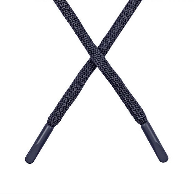 Шнур круглый поликоттон 0,5*135-140см с наконечником, цв:пыльно т. синий