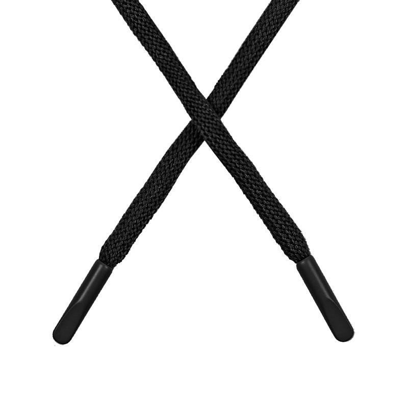 Шнур круглый поликоттон 0,5*135-140см с наконечником, цв:черный