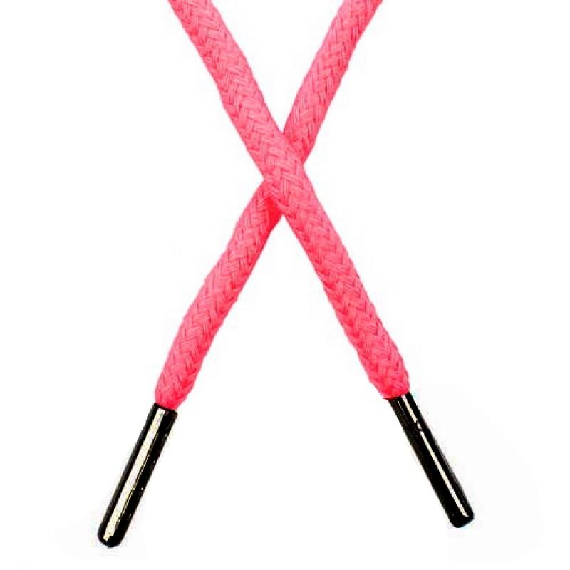 SALE Шнур круглый хлопок 0,5*133см с наконечником, цв:розовый неон S-JRH011-097Y
