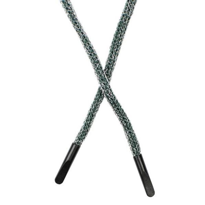 SALE Шнур круглый п/э в сетке люрекс 0,5*134см с наконечником, цв: тёмно-зеленый