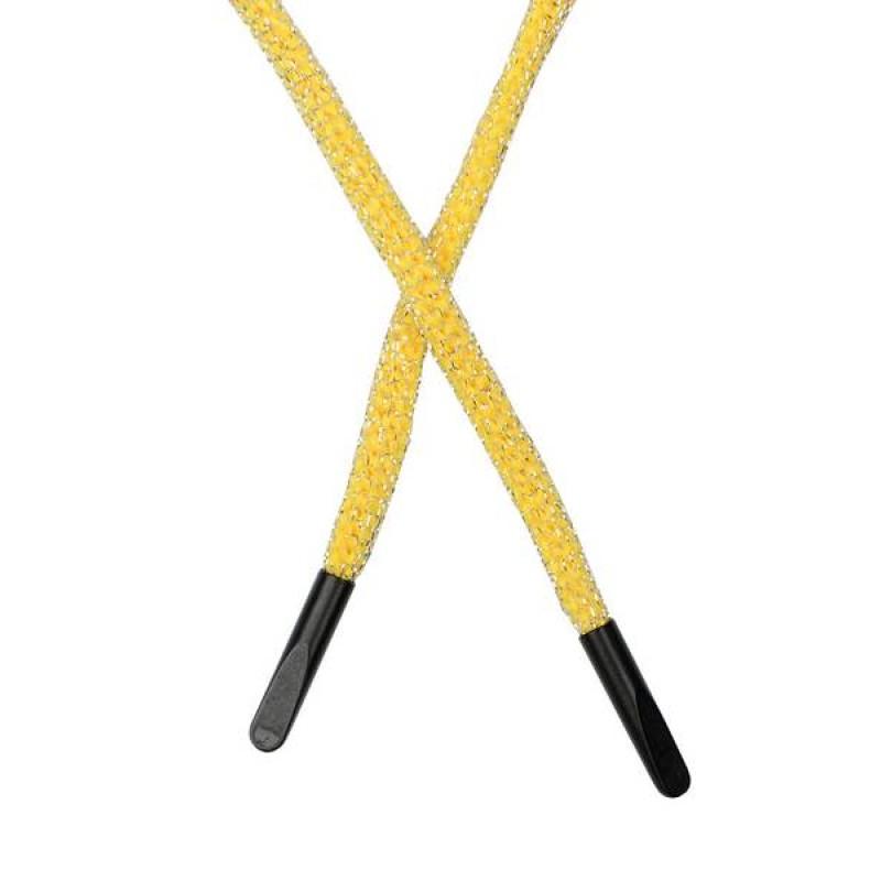 SALE Шнур круглый п/э в сетке люрекс 0,5*134см с наконечником, цв: желтый