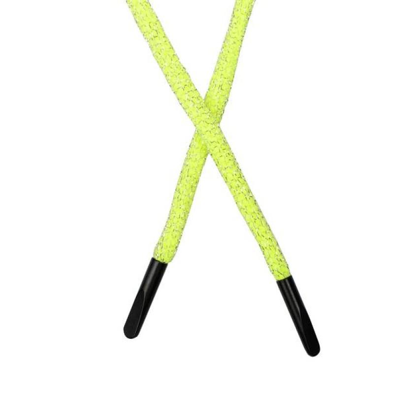 SALE Шнур круглый п/э в сетке люрекс 0,5*134см с наконечником,  цв: салатовый неон