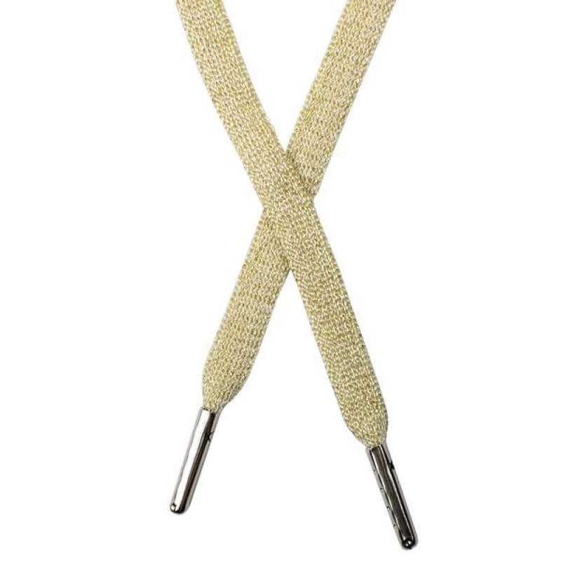 Шнур плоский люрекс 1*130см с наконечником, цв: молочный/золот. люрекс