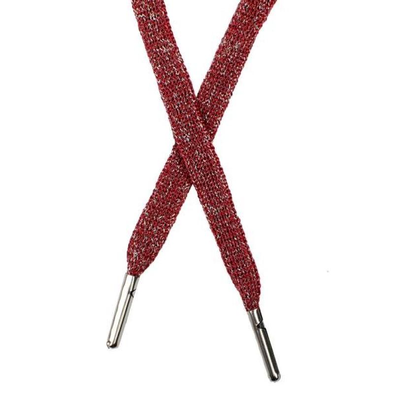 Шнур плоский люрекс 1*130см с наконечником, цв: бордовый/серебр. люрекс