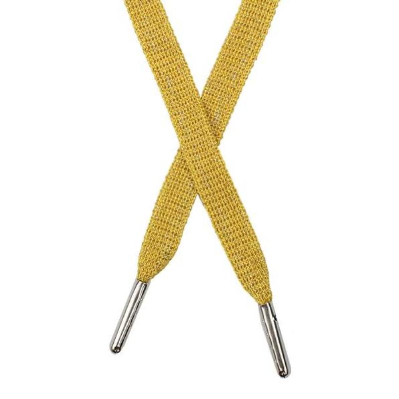 Шнур плоский люрекс 1*130см с наконечником, цв: желтый/серебр. люрекс