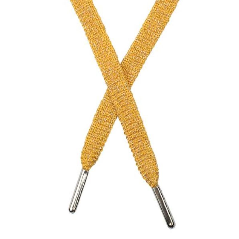 Шнур плоский люрекс 1*130см с наконечником, цв: оранжевый/серебр. люрекс