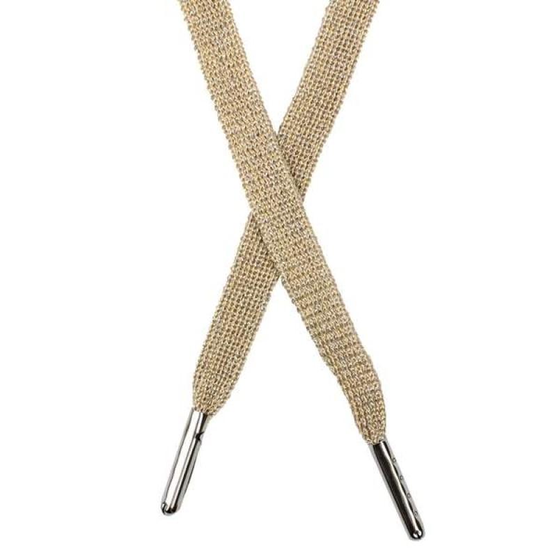 Шнур плоский люрекс 1*130см с наконечником, цв: бежевый/серебр. люрекс