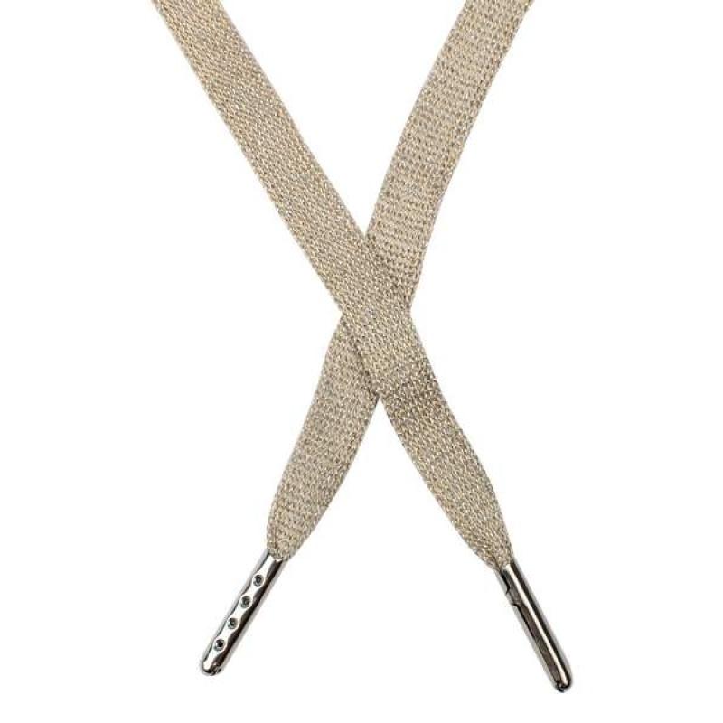 Шнур плоский люрекс 1*130см с наконечником, цв: холодный бежевый/серебр. люрекс