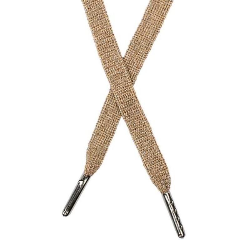 Шнур плоский люрекс 1*130см с наконечником, цв: охра/серебр. люрекс