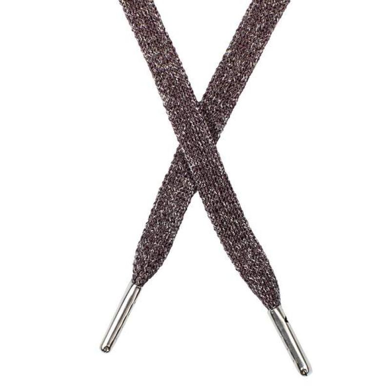 Шнур плоский люрекс 1*130см с наконечником, цв: шоколад/серебр. люрекс