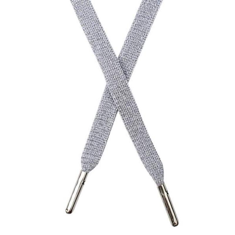 Шнур плоский люрекс 1*130см с наконечником, цв: серый/серебр. люрекс