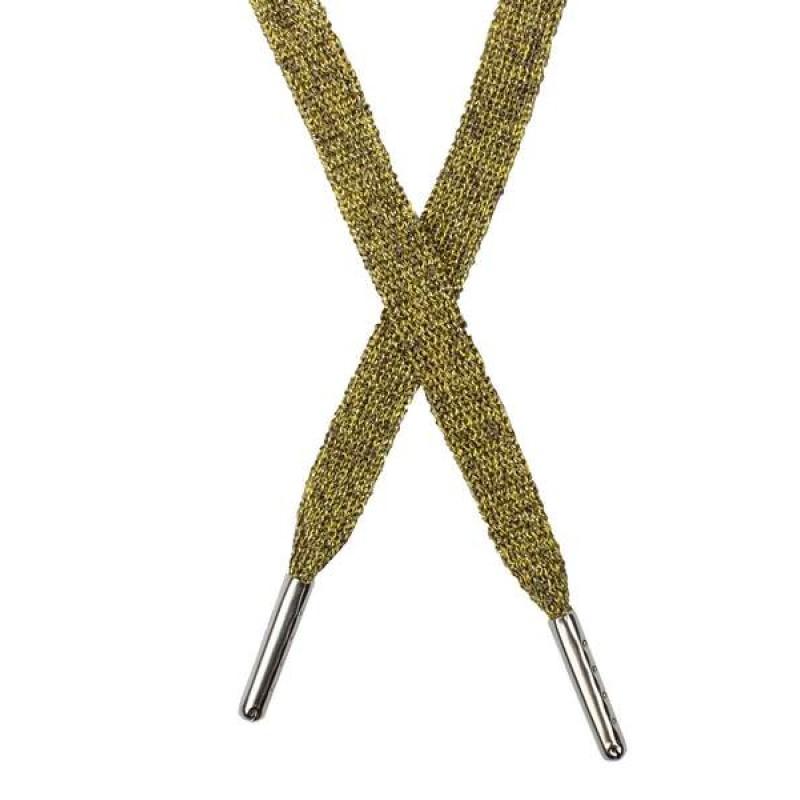 Шнур плоский люрекс 1*130см с наконечником, цв: охра меланж /золот. люрекс