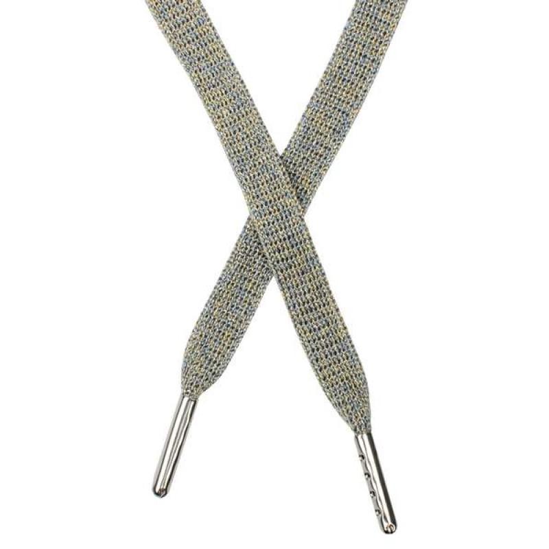 Шнур плоский люрекс 1*130см с наконечником, цв: бежево-голубой меланж /серебр. люрекс