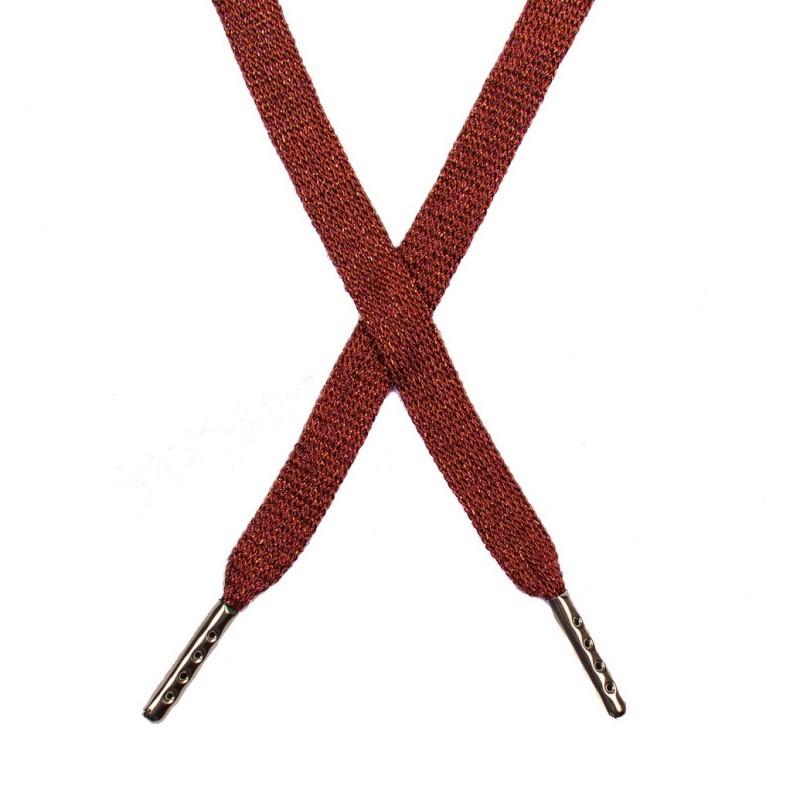 Шнур плоский люрекс 1*130см с наконечником, цв:красный/красный люрекс