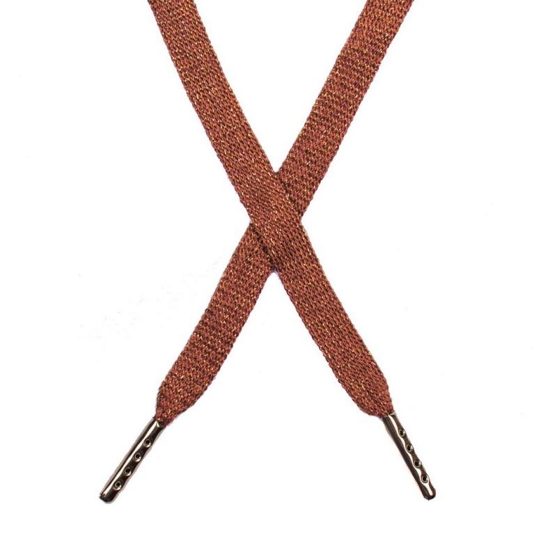 Шнур плоский люрекс 1*130см с наконечником, цв:оранжевый/золото люрекс