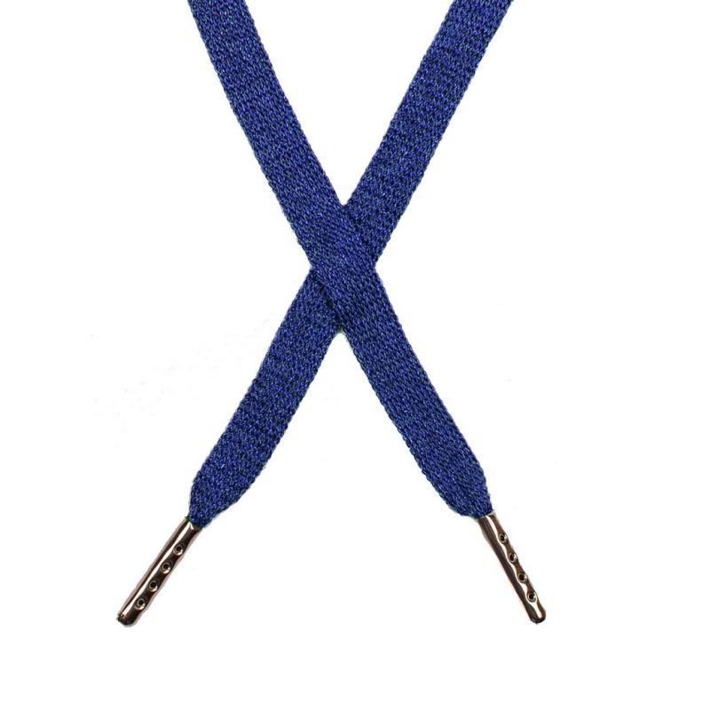 Шнур плоский люрекс 1*130см с наконечником, цв:синий/синий люрекс