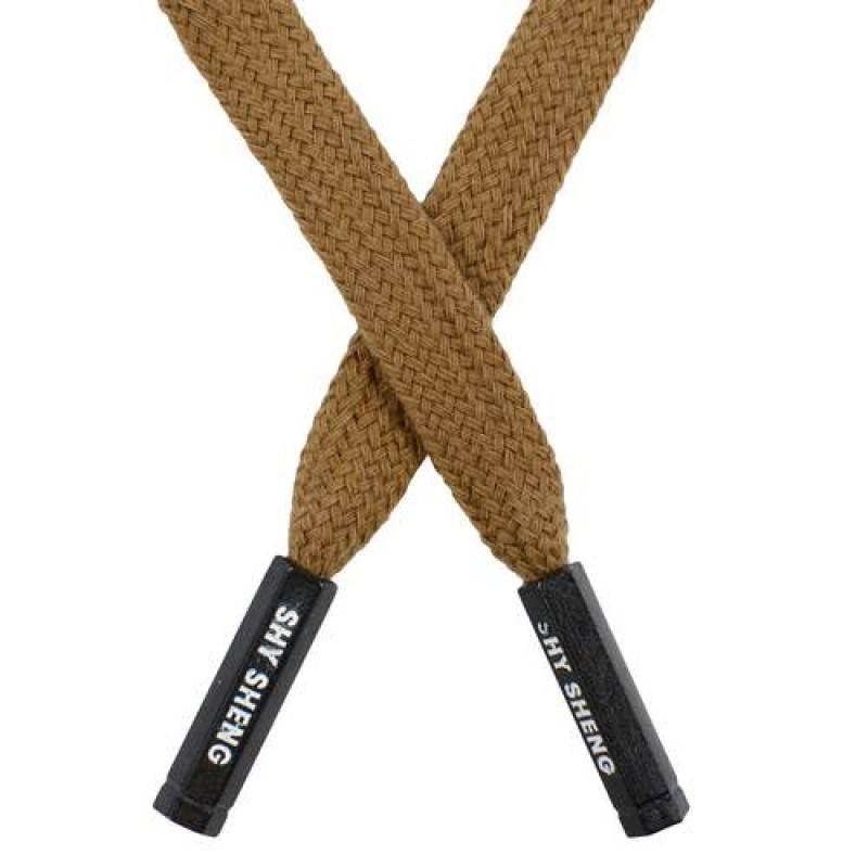 Шнур плоский хлопок 1*124см с наконечником, цв: светло-коричневый