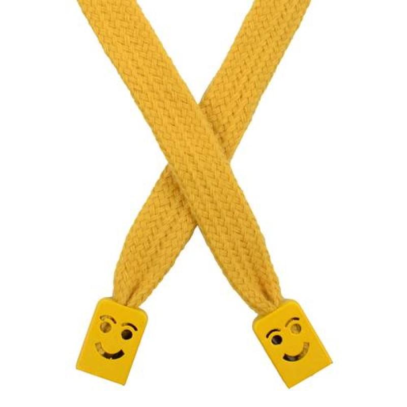 Шнур плоский хлопок 1*124см с наконечником, цв: золотой