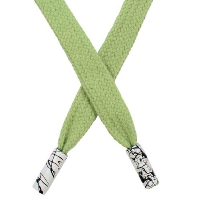 Шнур плоский хлопок 1*124см с наконечником, цв: зеленый чай