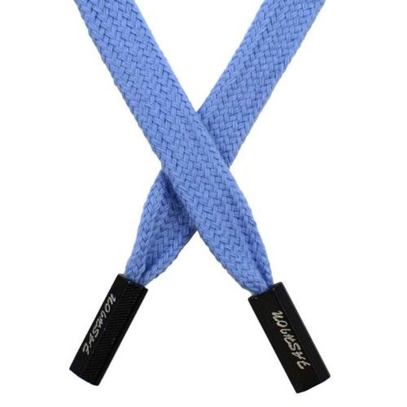 SALE Шнур плоский хлопок 1*124см с наконечником, цв: голубой