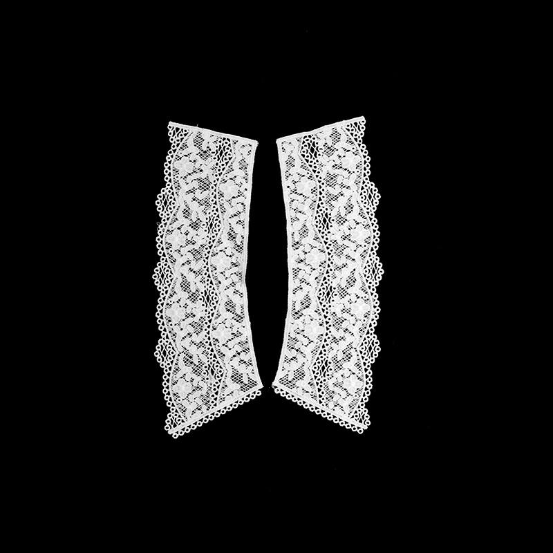Воротник кружевной парный 19,5/24,5*6,5/8см, цв:белый