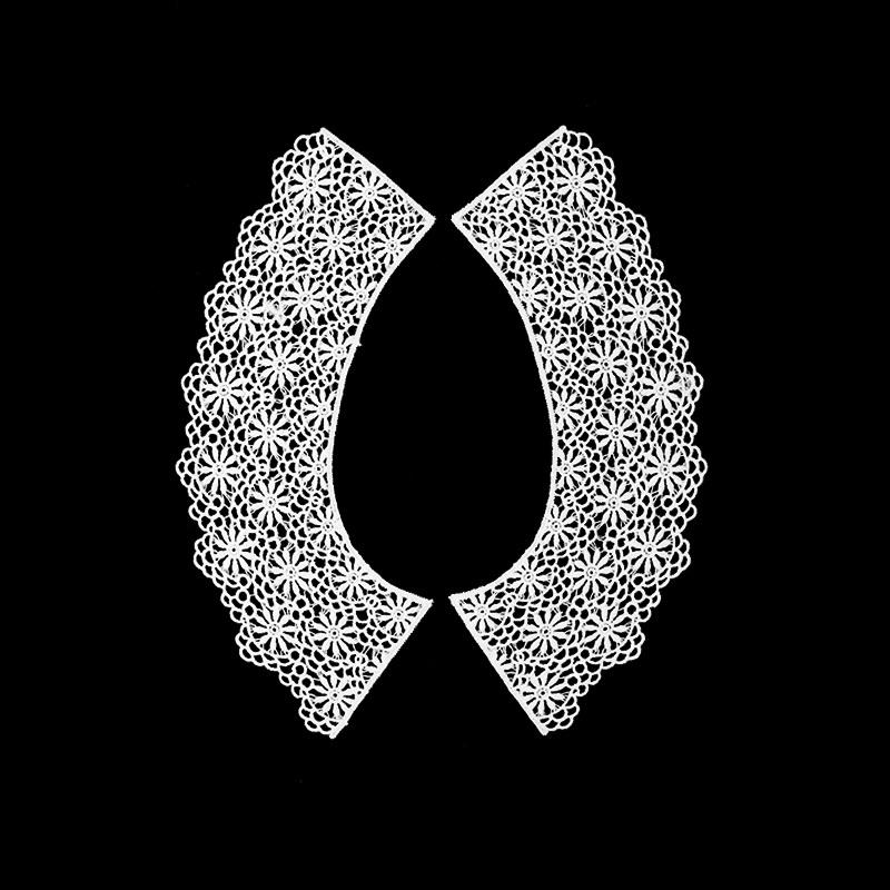 Воротник кружевной парный 23/33,5*7/8см, цв:белый