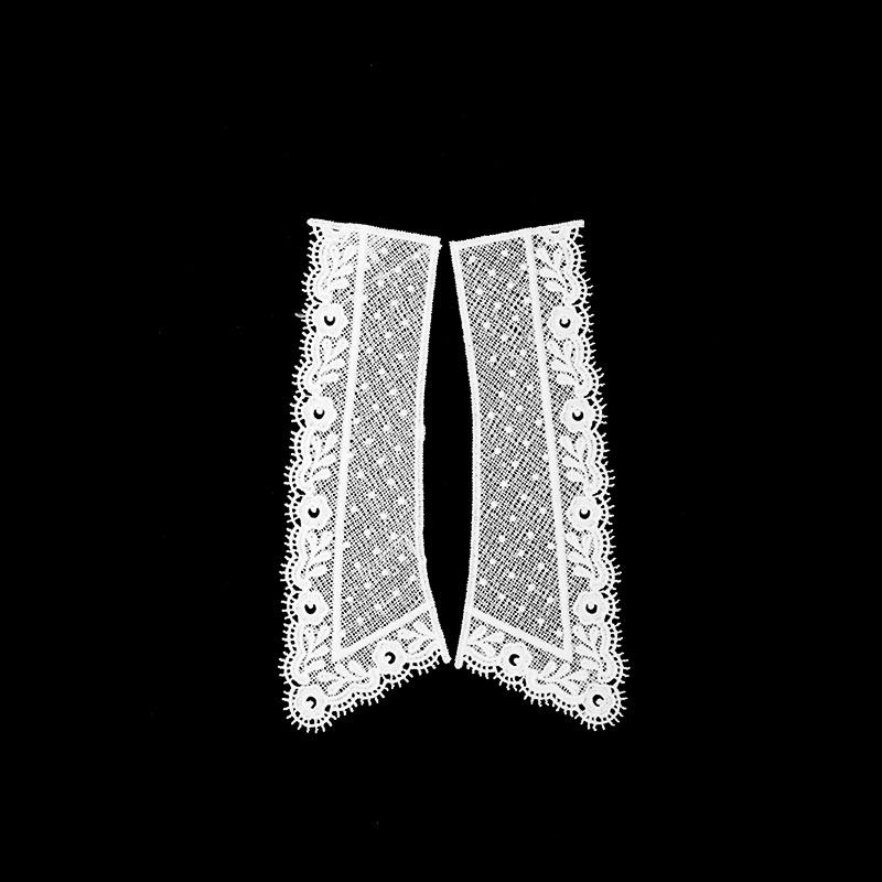 Воротник кружевной парный 20/24,5*6,5/8см, цв:молочный