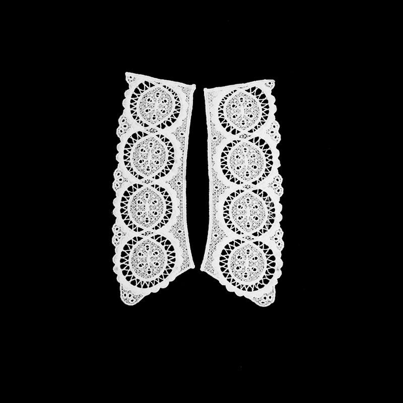 Воротник кружевной парный 19/24*7,5/8см, цв:белый