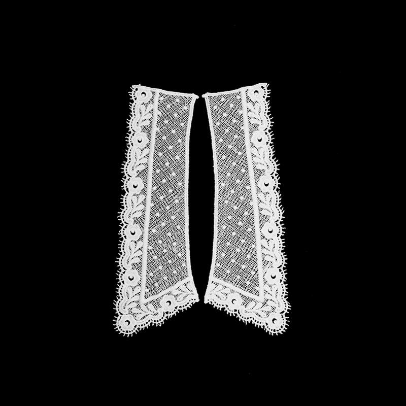 Воротник кружевной парный 22/26*6,5/9см, цв:белый