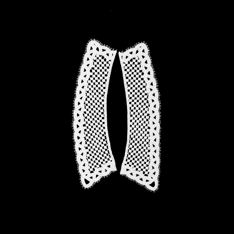 Воротник кружевной парный 22,5/28,5*5/7,5см, цв:белый