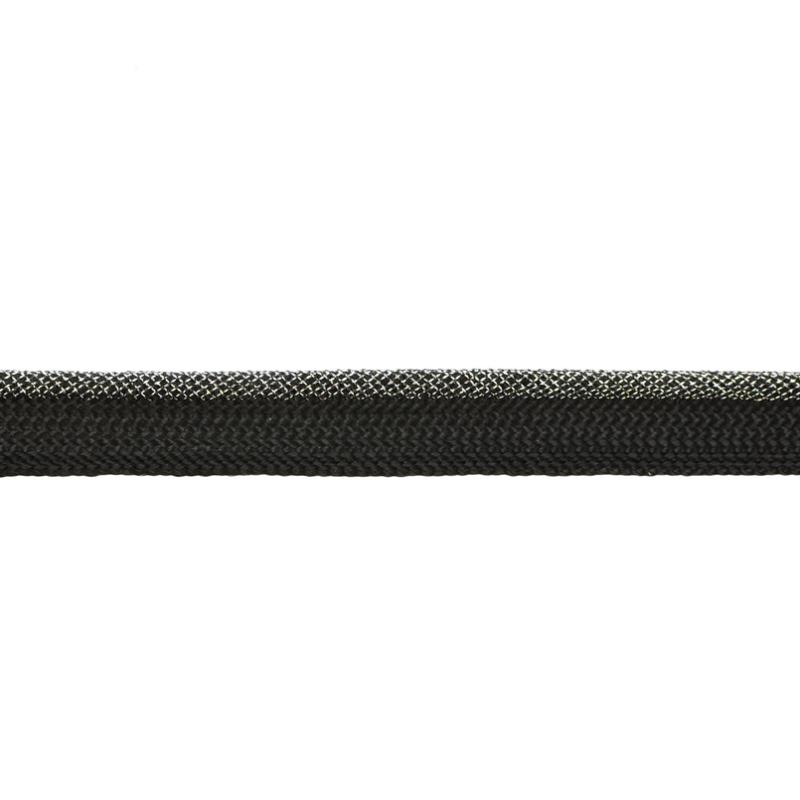 Кант 1см декоративный с люрексом 43-45м/рул, цв: черный/серебряный