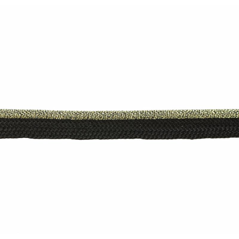 Кант 1см декоративный с люрексом 43-45м/рул, цв: черный/св.золото