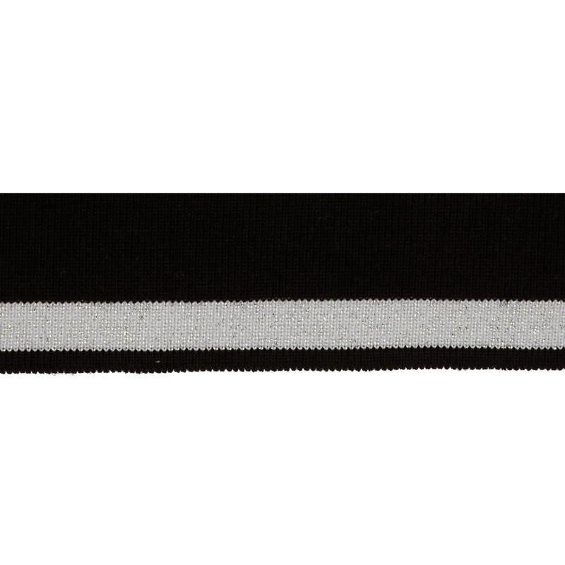 Подвяз 1*1 акрил 3,5*100см, цв:черный/св.серый/люрекс серебро