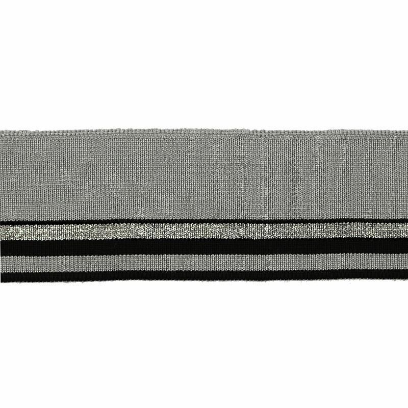Подвяз1*1 вискоза 4,5*100см, цв:серый/черный/люрекс серебро