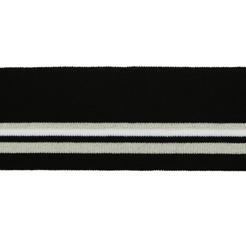 Подвяз 1*1 акрил 6*120см, цв:черный/белый/серебро H01