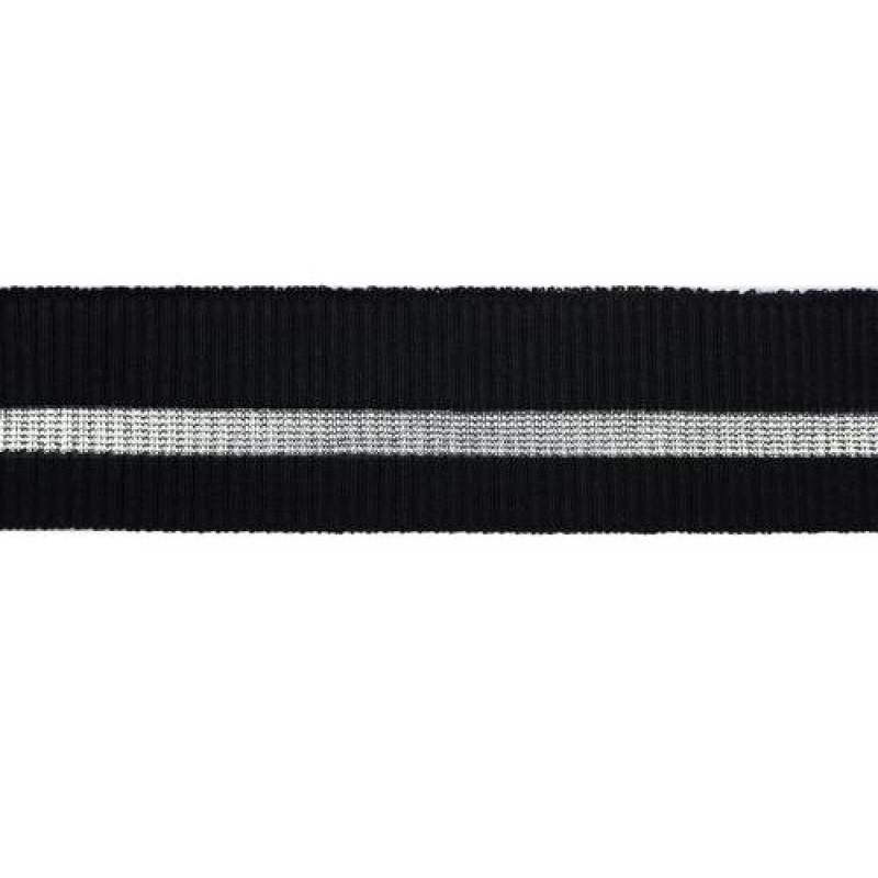 Подвяз трикотажный с прозрачной полосой чёрный вискоза 2*2